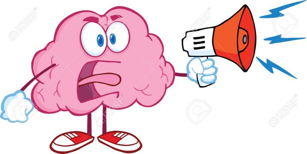 Cerebro con un megáfono anunciando que tiene ansiedad