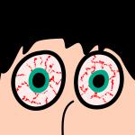 hombre con insomnio y ojos rojos