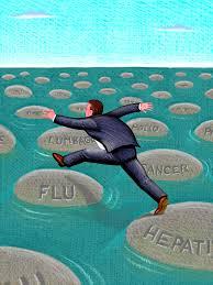 hombre saltando de piedra en piedra con nombres de enfermedades